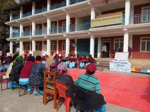 चौधौं महिला स्वयंसेविका दिवसका अवसरमा वडा स्तरीय महिला स्वास्थ्य स्वयंसेविका हाजिरीजवाफ प्रतियोगिता सञ्चालन हुँदै